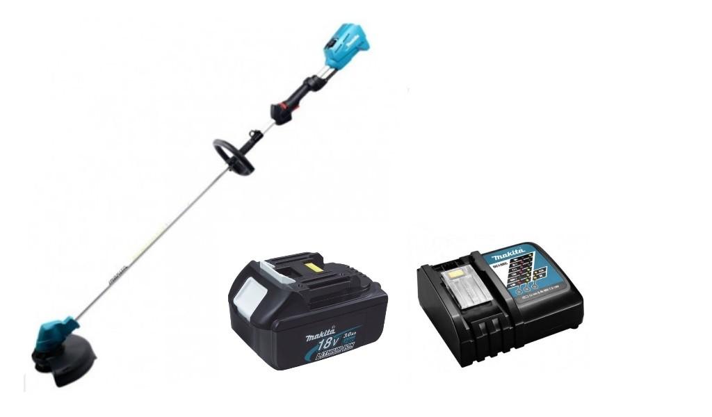 Коса акумулаторна (тример) MAKITA, DUR182LZ, 18V, 300 мм. + Батерия акумулаторна Li-Ion 18.0 V, 3.0 Ah, BL1830 + Устройство зарядно за Li-Ion батерии 7.2-18.0 V, DC18RC